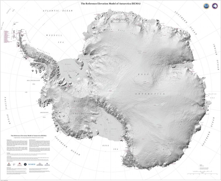 The Reference Elevation Model of Antarctica (map poster)