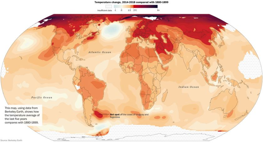 Washington Post: Temperature change map