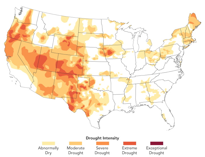 A Third of the U.S. Faces Drought (NASA Earth Observatory)