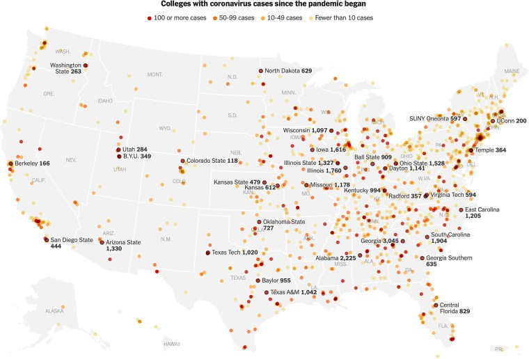 Colleges with coronavirus since the pandemic began (NY Times)