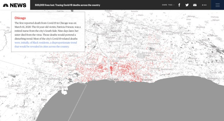 Screenshot of NBC News interactive map showing 500,000 COVID-19 deaths in the United States, focusing on Chicago.