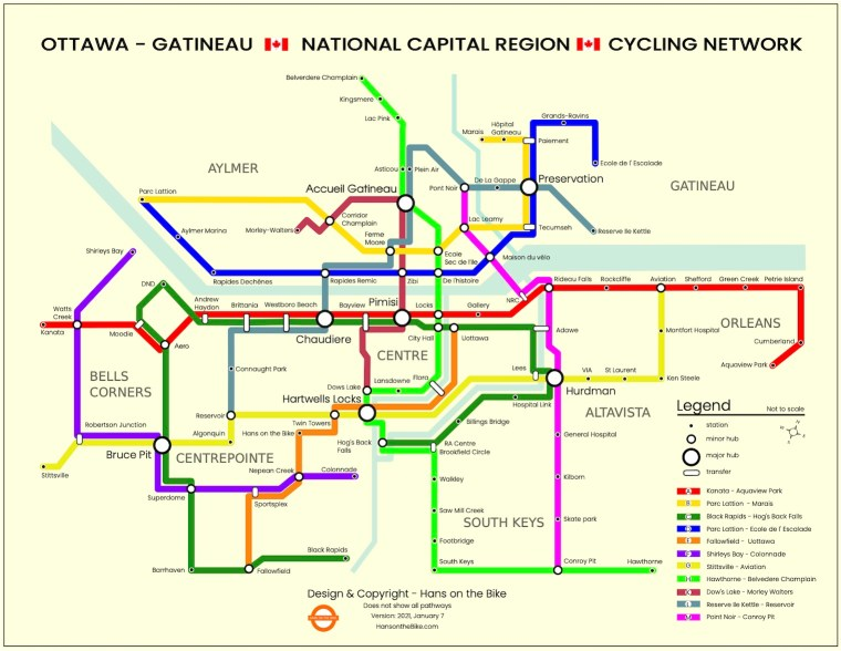 Hans on the Bike map of the Ottawa-Gatineau cycling network