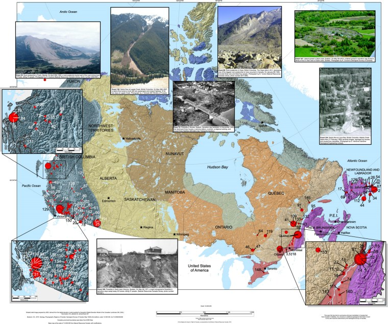 Map: Historical landslides that have resulted in fatalities in Canada (1771-2019)