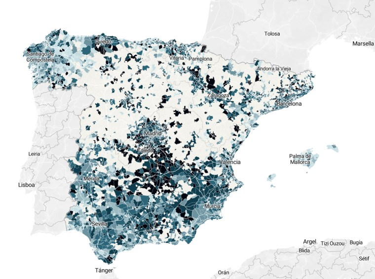 Map of COVID-19 deaths in Spain