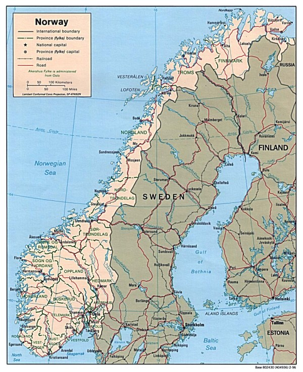 Maps of Norway Detailed map of Norway in English