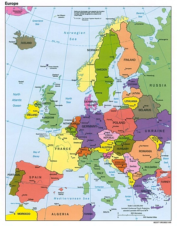 Maps of Europe Map of Europe in English Political Administrative Physical