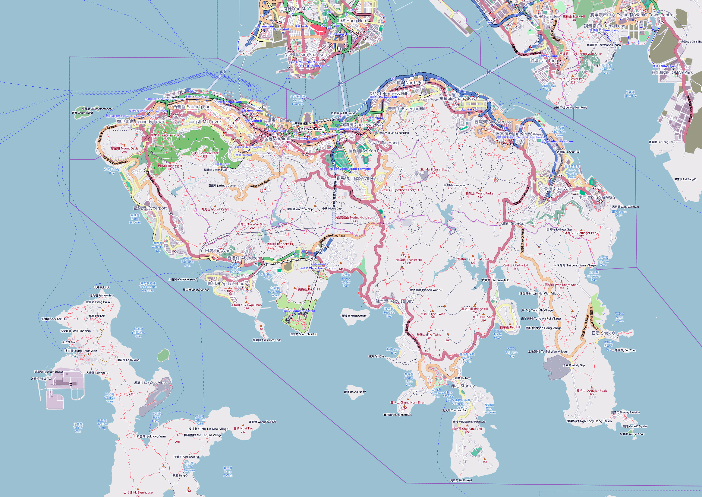 Maps of Hong Kong | Detailed map of Hong Kong in English | Tourist map of Hong Kong | Road map of Hong Kong and Guangzhou | Relief. Physical and ...