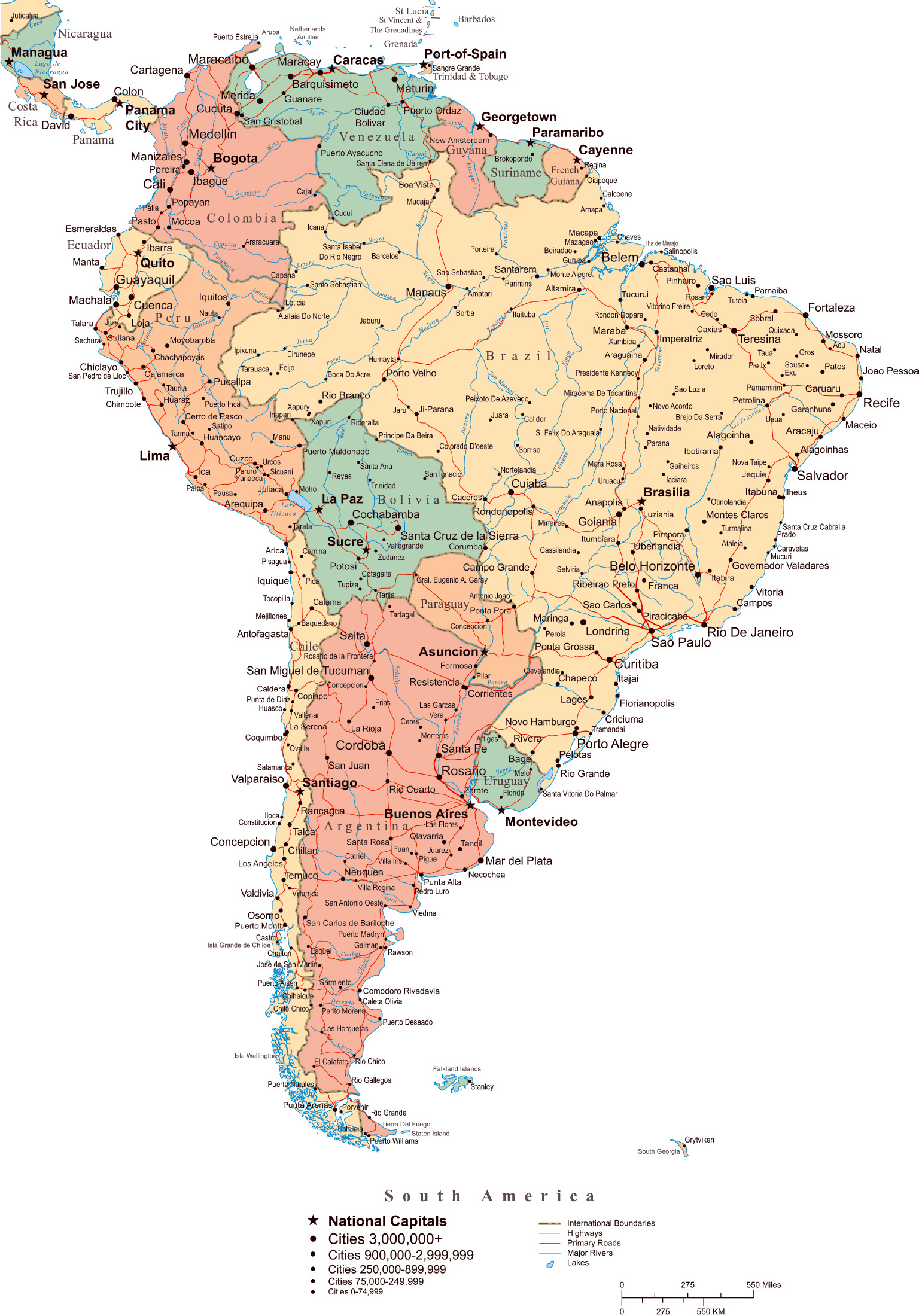 Maps Of South America And South American Countries Political Maps Administrative And Road Maps Physical And Topographical Maps Of South America With Countries Maps Of The World