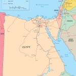 Egypt Map Africa Cairo Nile River Travel Tourist Guide