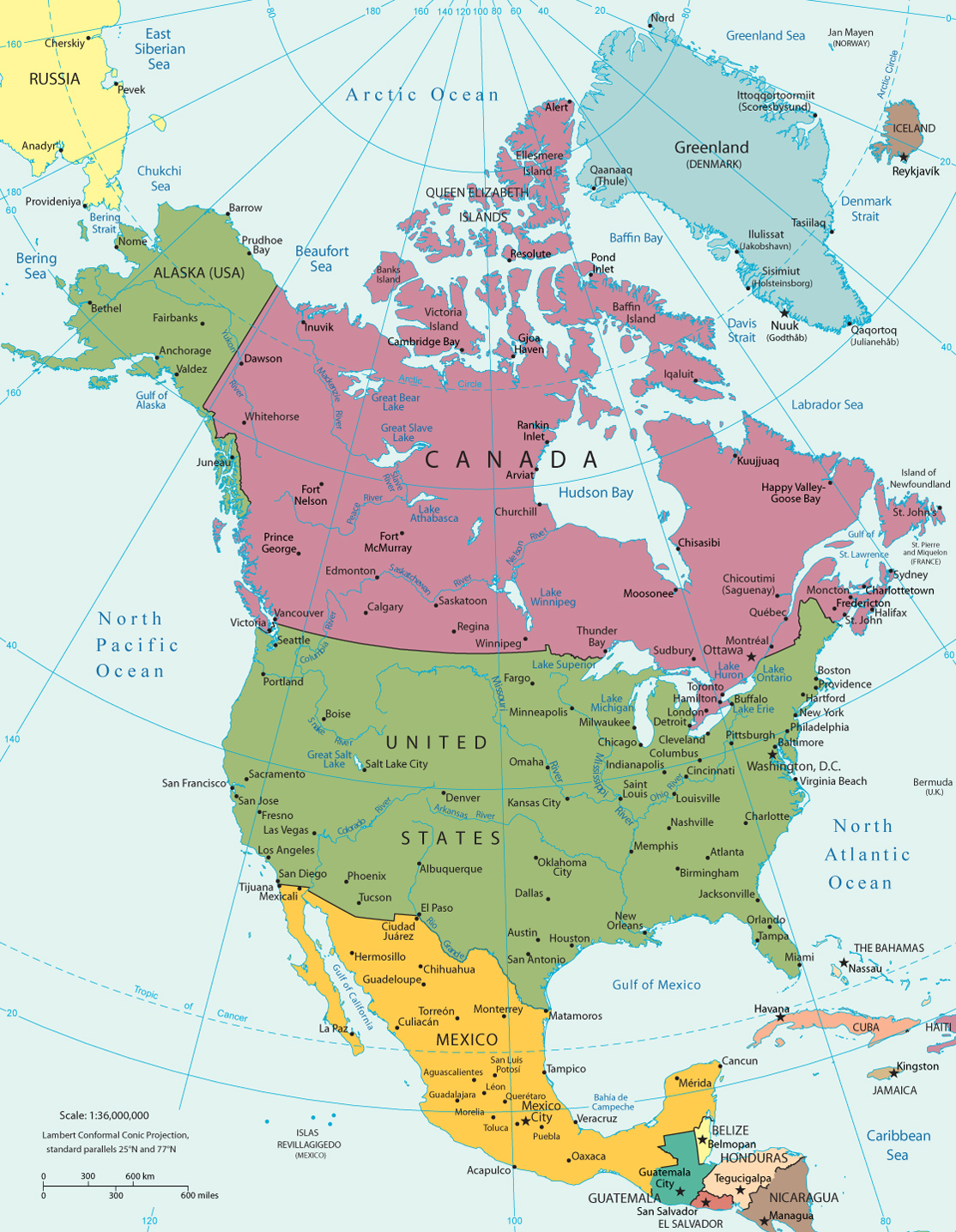 america continent map