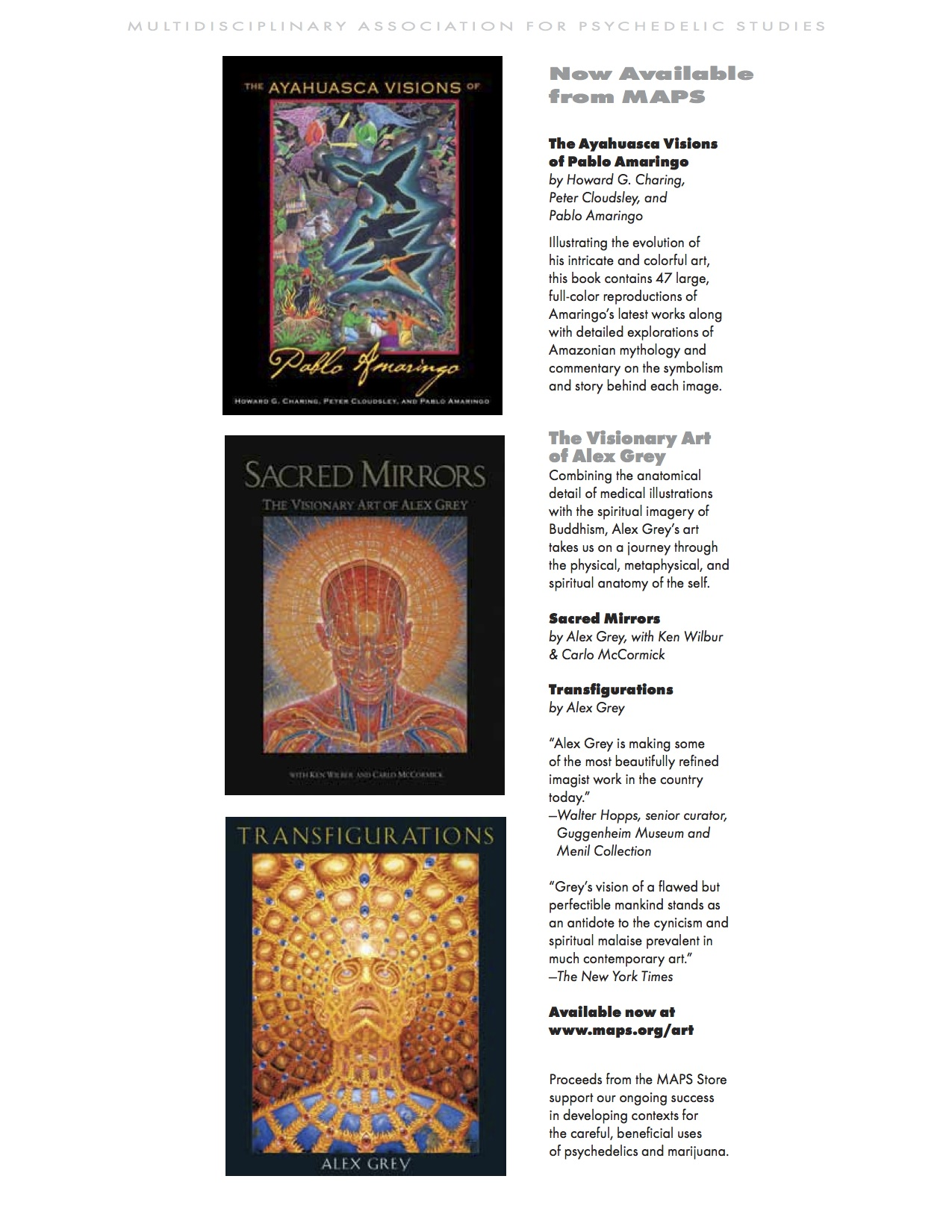 MAPS Bulletin Vol xxii No 1: Spring 2012 - Inside Cover Image - Psychedelic Art - Now Available from MAPS by Pablo Amaringo / Alex Grey