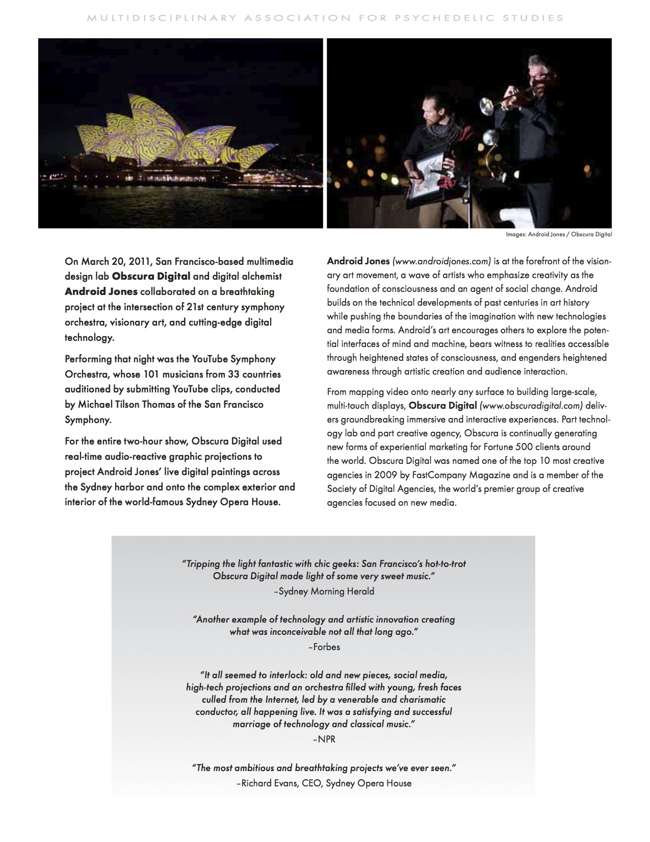 MAPS Bulletin Vol xxii No 1: Spring 2012 - Inside Front Cover Image - Psychedelic Art - 2011 Android Jones / Obscura Digital / YouTube Symphony Orchestra / Sydney Opera House Collaboration by Android Jones / Obscura Digital / YouTube Symphony Orchestra