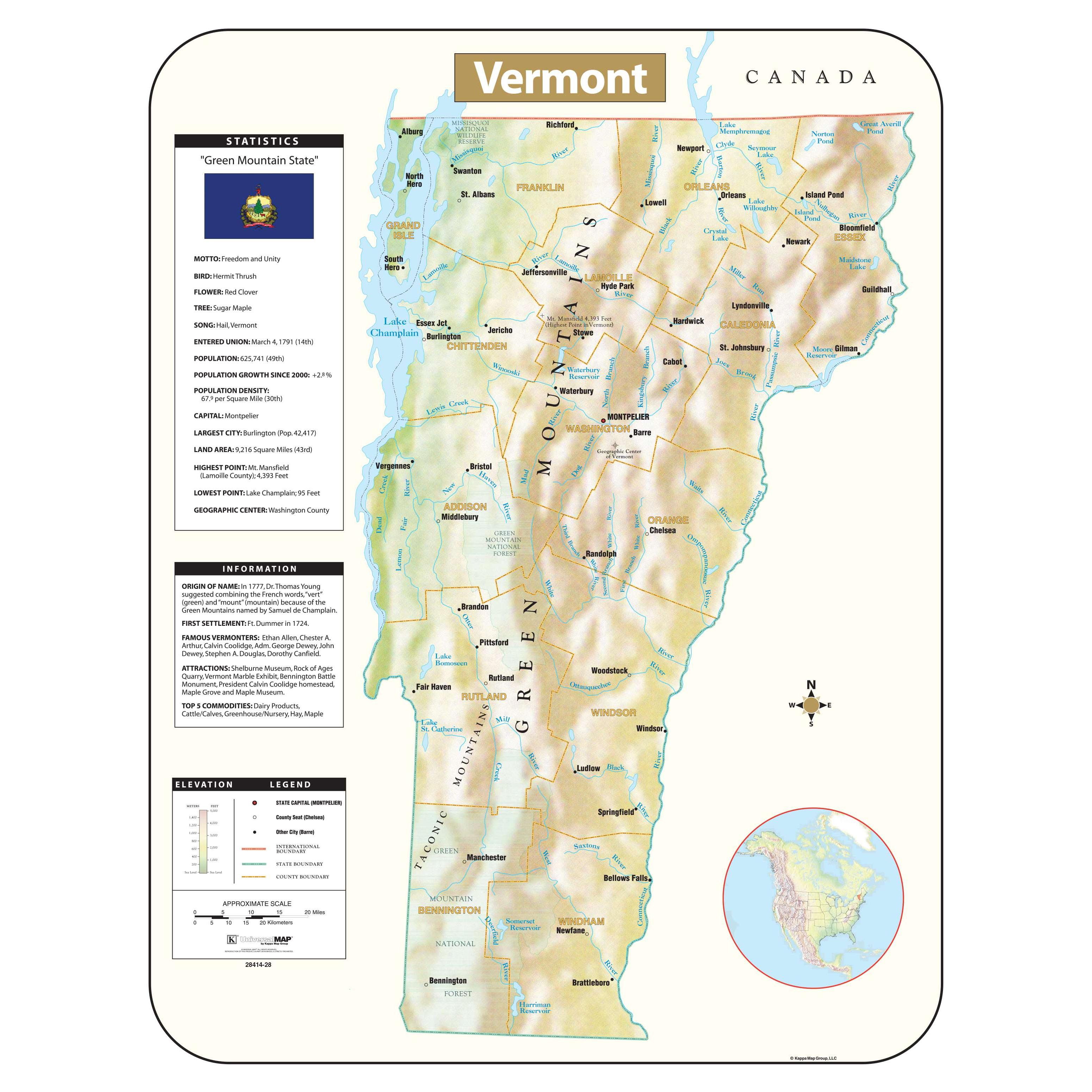 Northfield is a town in washington county, vermont, united states. Vermont Shaded Relief Map The Map Shop