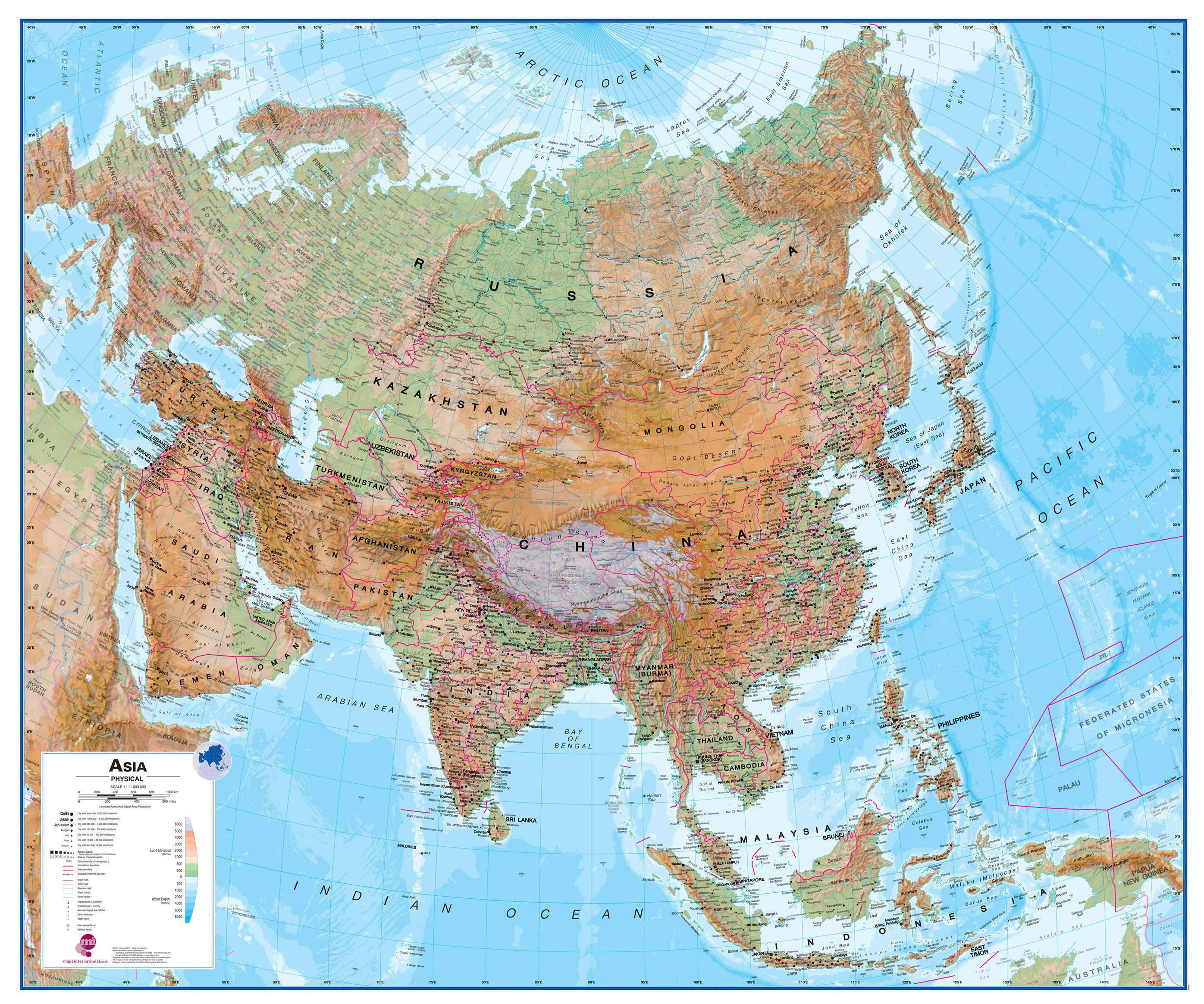 Physical Asia Wall Map