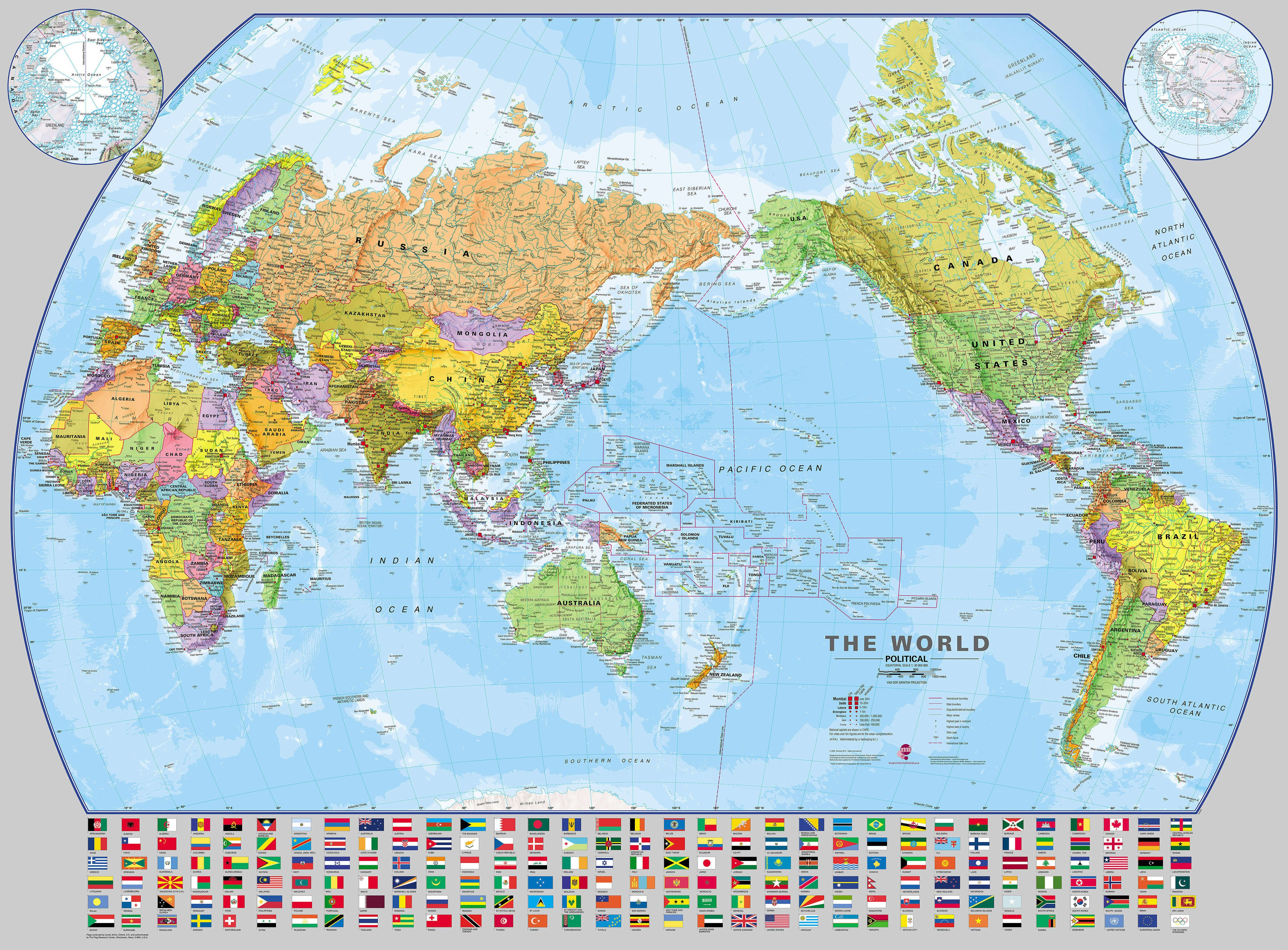 Pacific Centered World Map With Flags