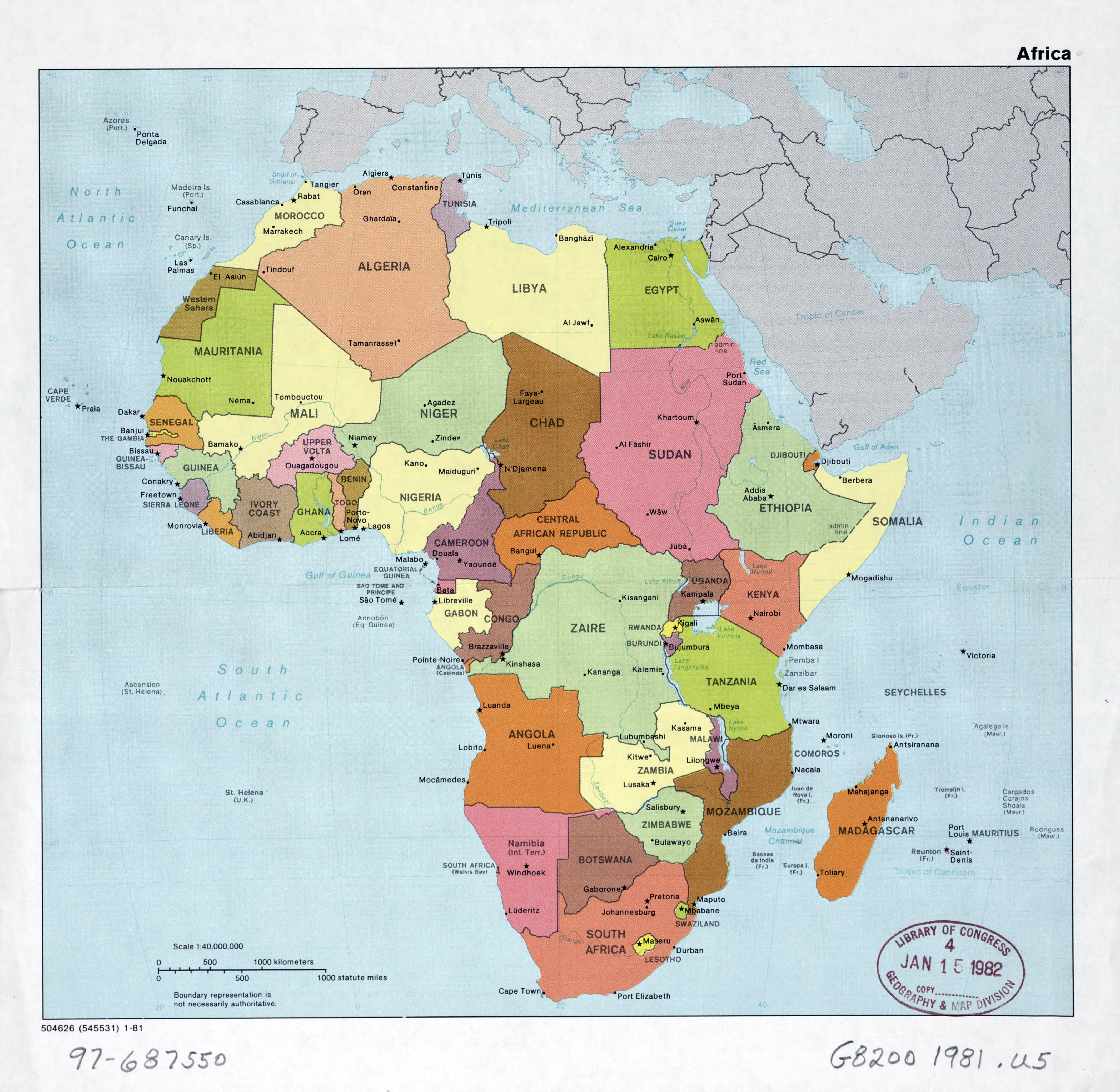 Large Detail Political Map Of Africa With The Marks Of