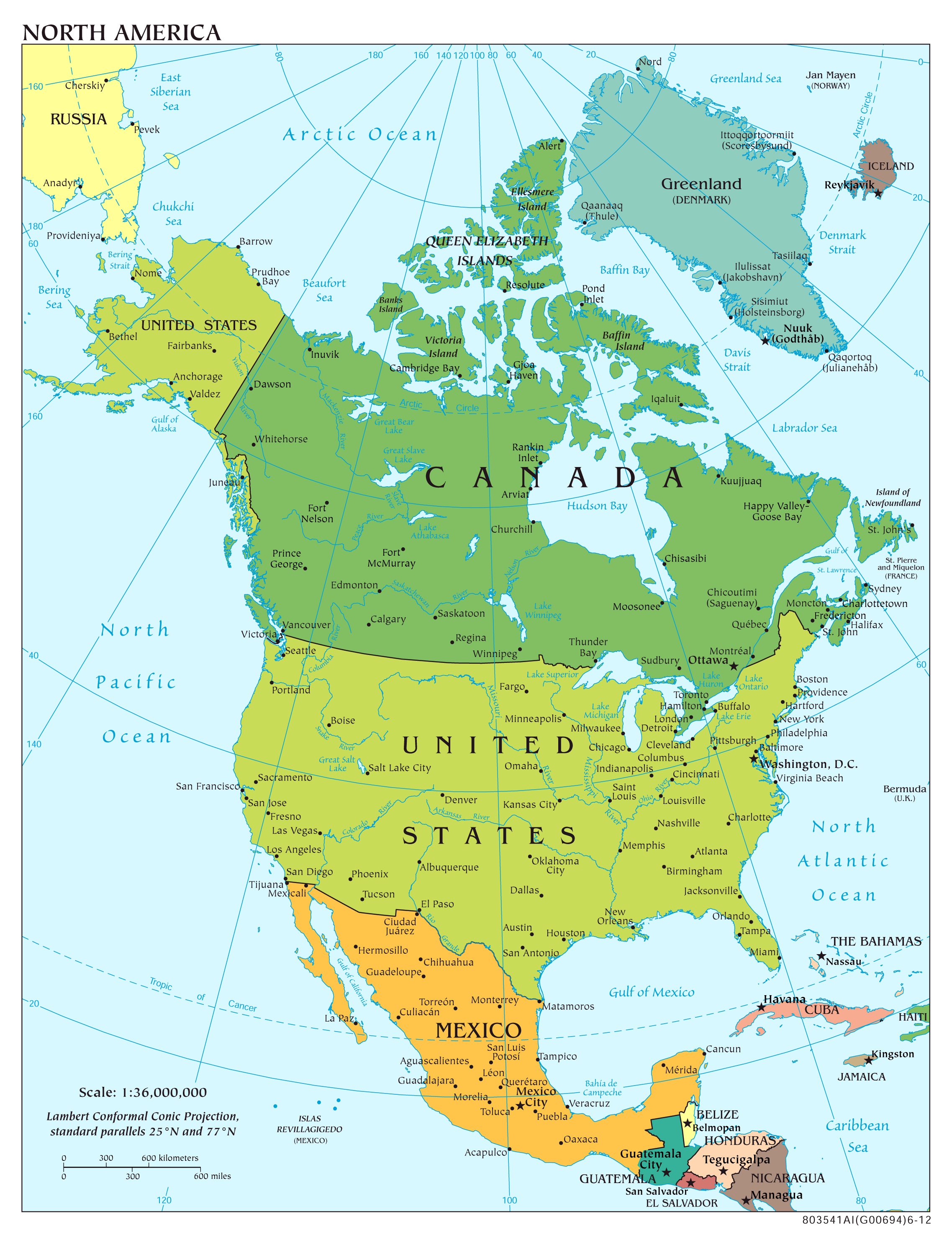 Large Scale Political Map Of North America With Major Cities And Capitals 2012 North America Mapsland Maps Of The World