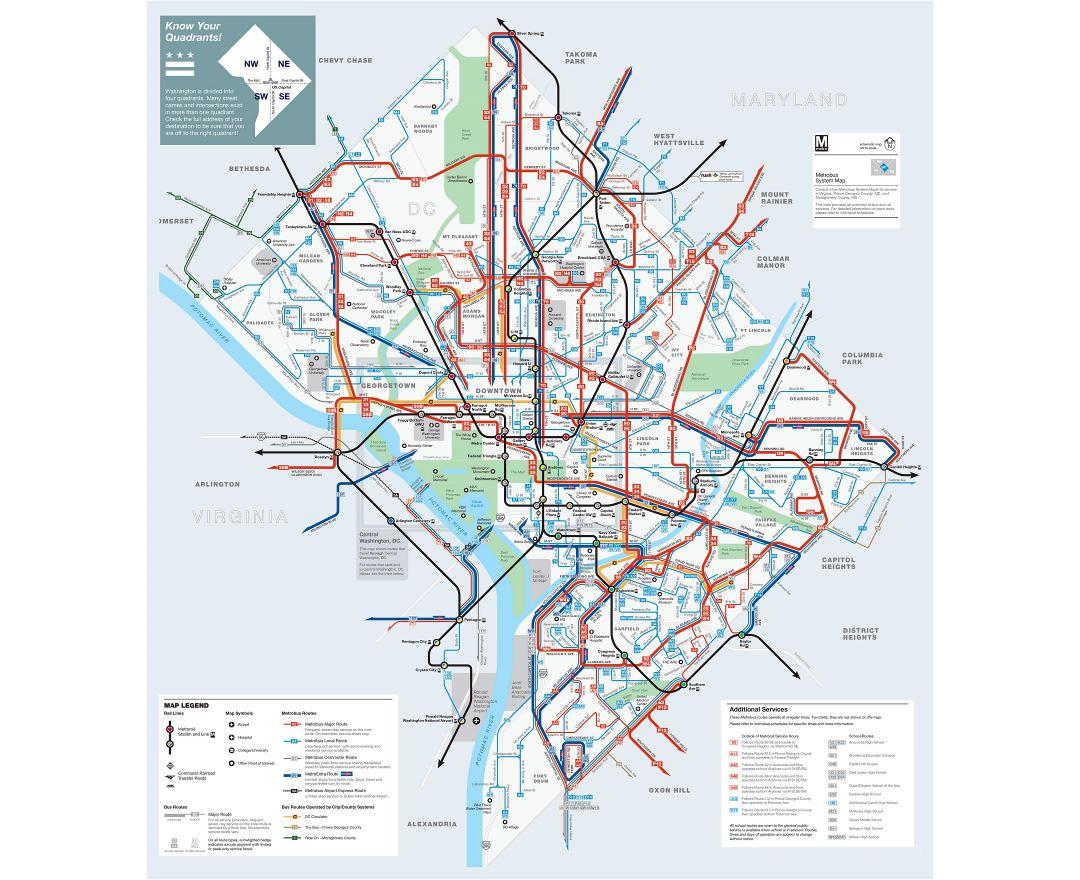 hight resolution of large detailed metrobus route map of washington d c