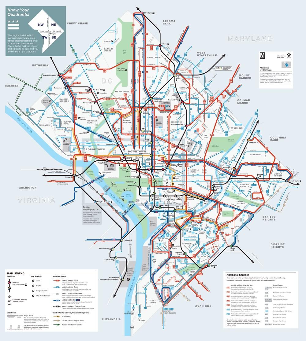medium resolution of large detailed metrobus route map of washington d c