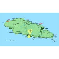 Large map of Upolu Island Samoa with roads cities and