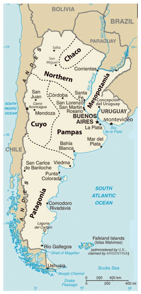 Detailed regions map of Argentina Argentina South