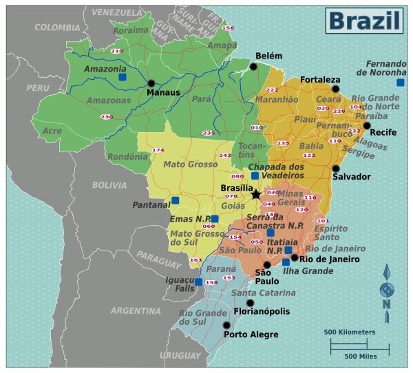 Large regions map of Brazil Brazil South America