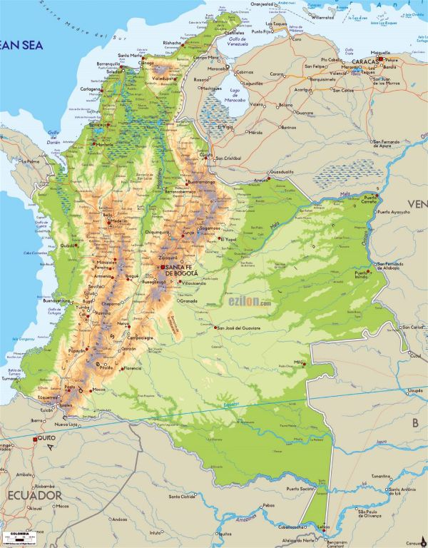 Detailed physical map of Colombia with roads cities and