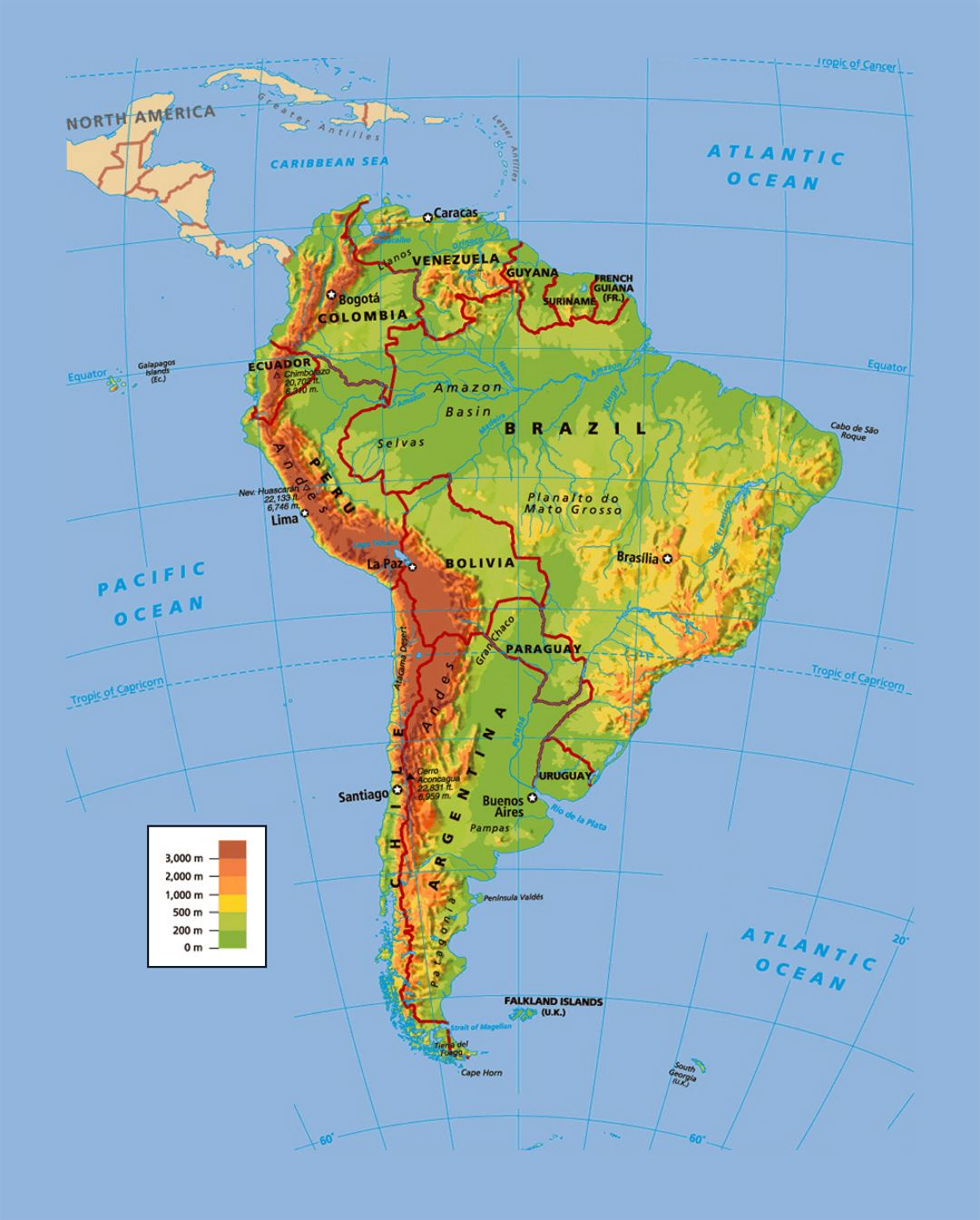 Political And Physical Map Of South America