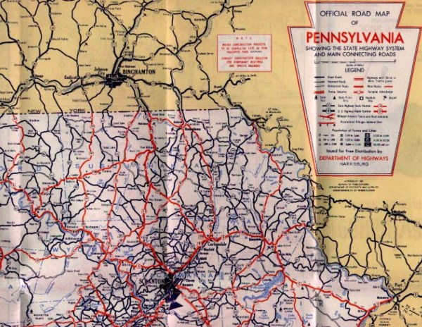 1950s Pennsylvania State Road Maps
