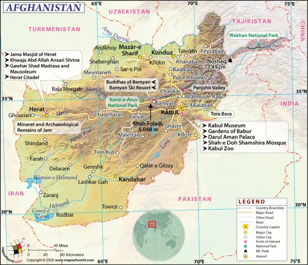 Afghanistan Map Map of Afghanistan