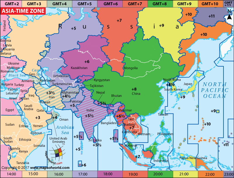 Russia Time Zone World Map