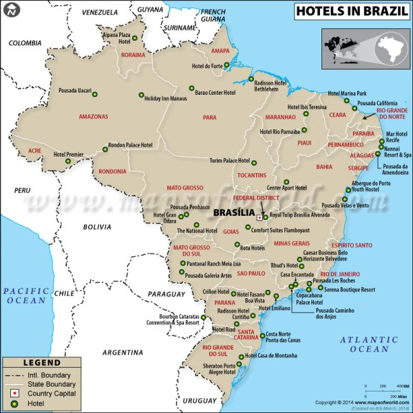 Brazil Hotels Map Hotels in Brazil