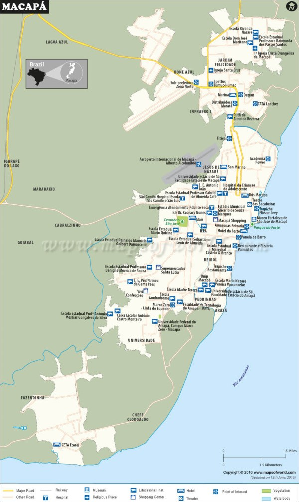 Macapa Map City Map of Macapa Brazil