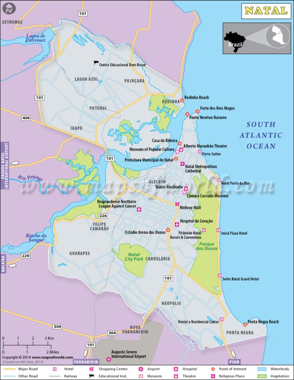 Natal Map City Map of Natal Brazil