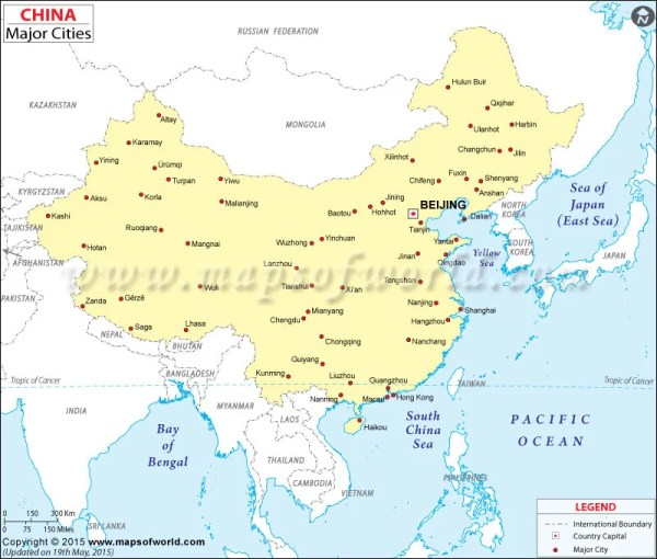 Cities in China Map Major Cities in China