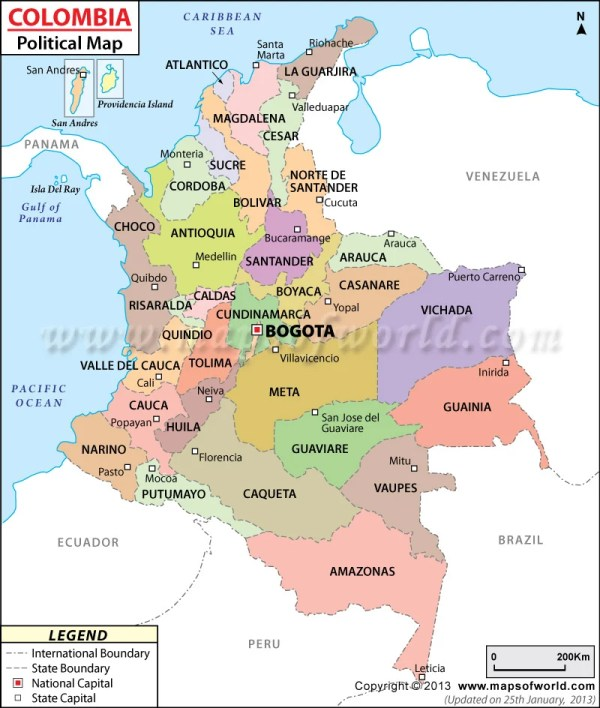 Political Map of Colombia Colombia Departments Map
