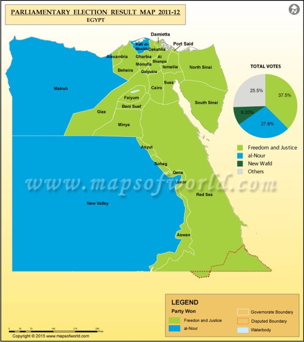 Map of Egypt Election Results Previous Election Results