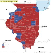 Illinois Election Results Map 2004 2008