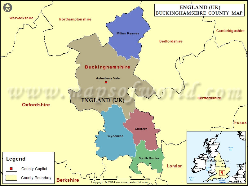 Map Bedfordshire England