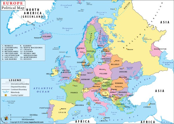 Europe Political Map Political Map of Europe with Countries and Capitals