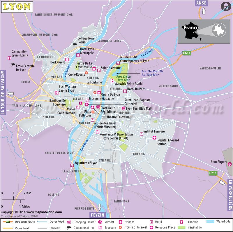 Lyon Map Map Of Lyon France