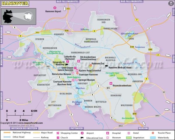 Hannover Map City Map of Hannover Germany