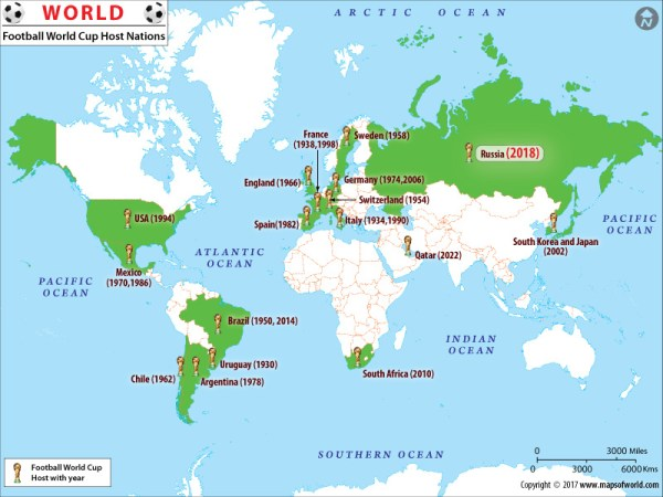 Football World Cup Host Nations Map