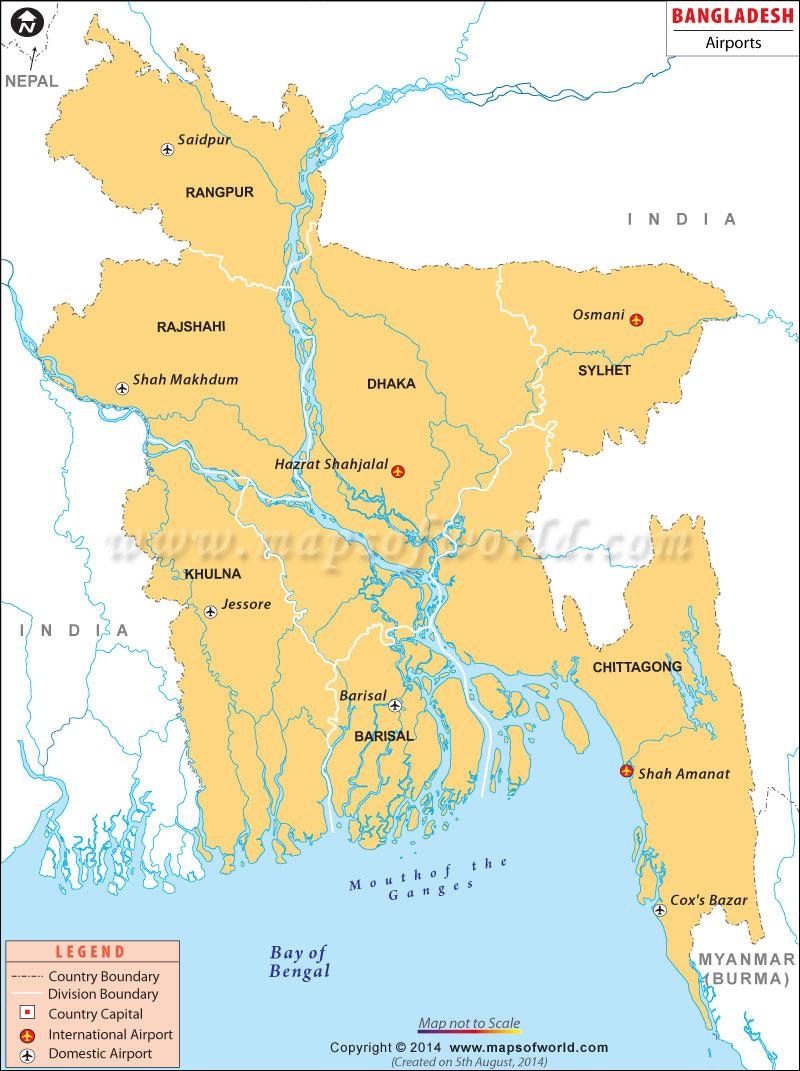 Airports In Bangladesh Bangladesh Airports Map