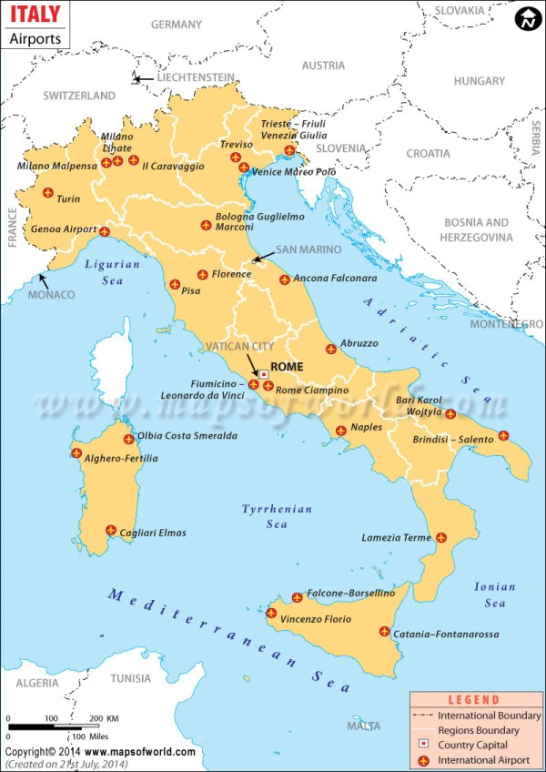 Airports in Italy Italy Airports Map