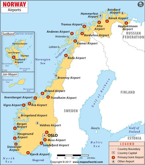 Airports in Norway Norway Airports Map