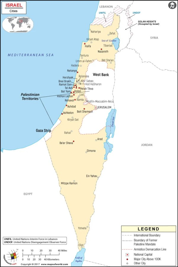 Israel Cities map Cities in Israel