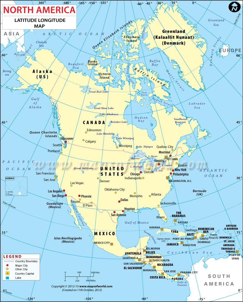 The corporate states of america. North America Latitude And Longitude Map