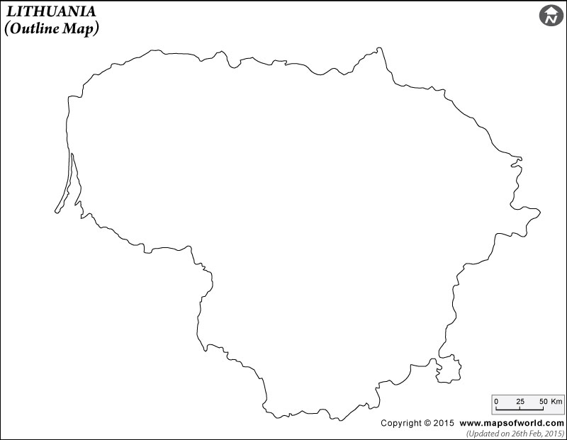 Lithuania Outline Map, Outline Map of Lithuania