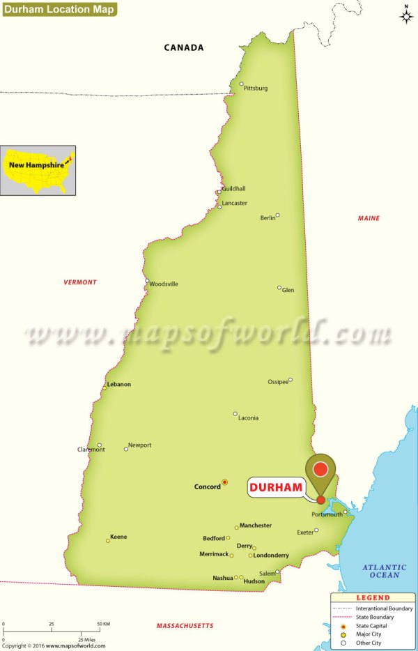 Where is Durham Located in New Hampshire USA